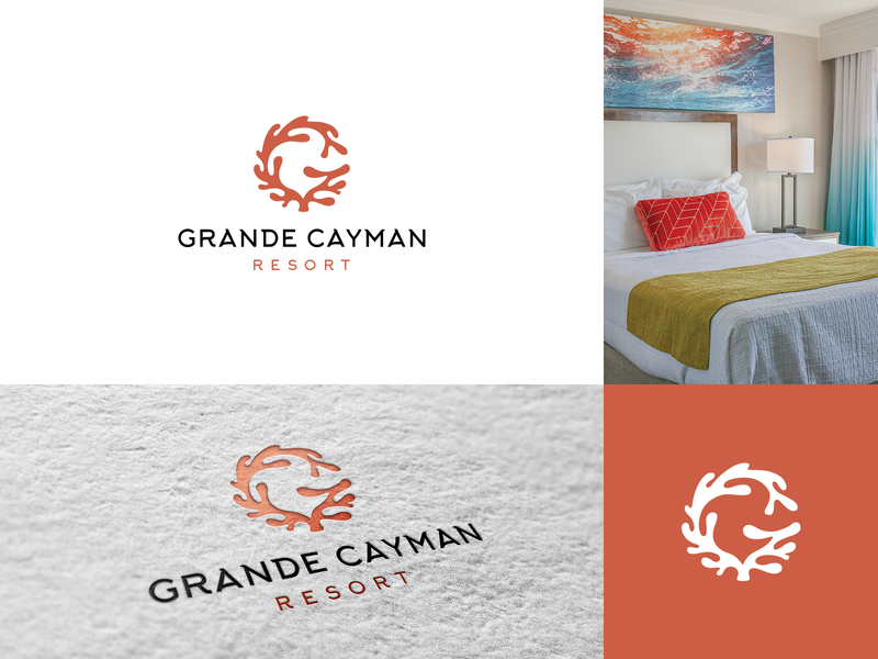Grande Cayman Resort logo concept litvinenko studio hotel monogram luxury beach sea ocean resort minimalism creative logo coral logo g logo cleverlogo smart logo illustration corporate style branding brand identity graphic design logodesign