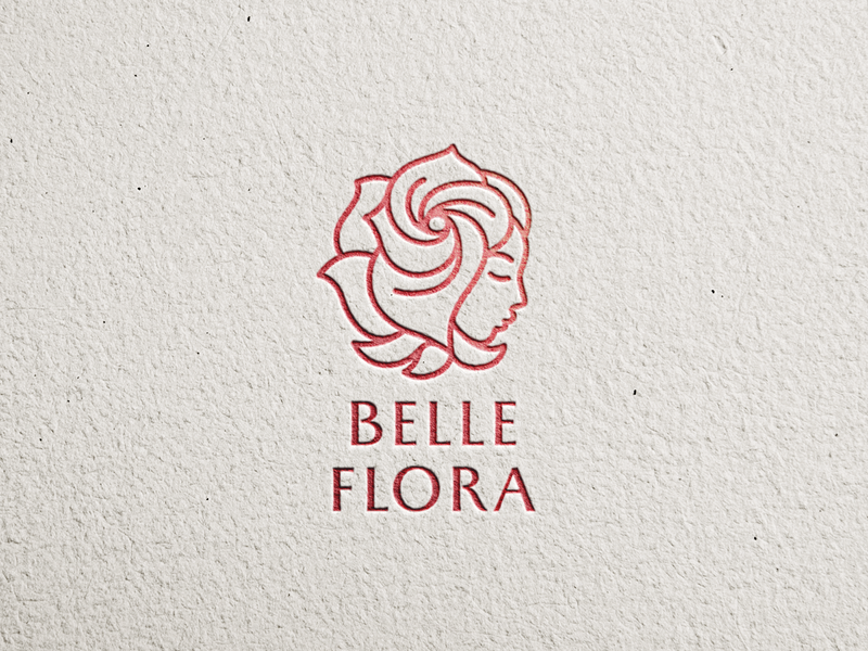 Belle Flora girl woman logo cosmetics typography litvinenkostudio cleverlogo smartlogo creative flowers flora pretty face rose beauty corporatestyle brandidentity branding and identity branding graphicdesign logodesign