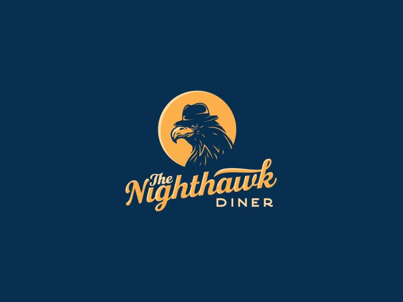The Nighthawk Diner logo concept litvinenko studio logo mark diner corporate style brand identity branding graphicdesign logodesign mascot moon typography illustration smart logo mafia night hawk restaurantlogo oslo norway