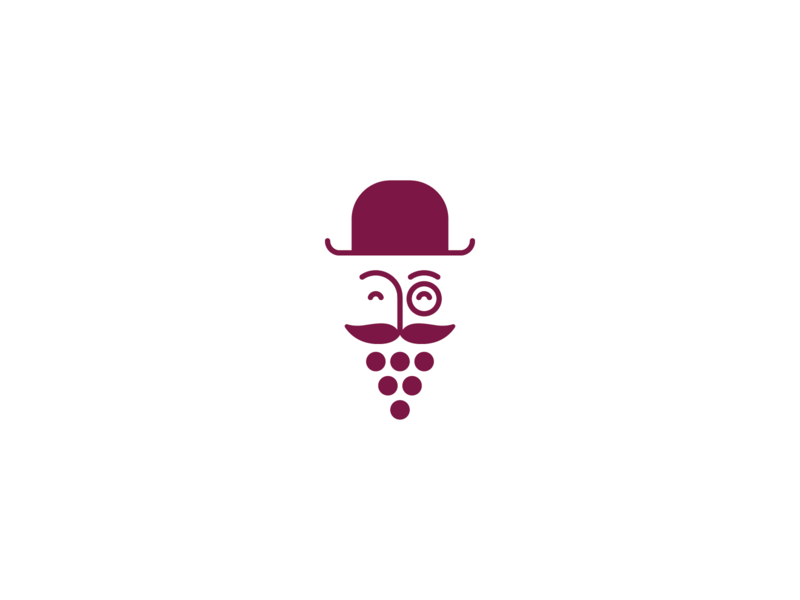 Wine logo concept illustration litvinenko studio gentleman beard mustache grape wine logo cleverlogo smart logo minimalism corporate style identity brand identity branding graphicdesign logodesign