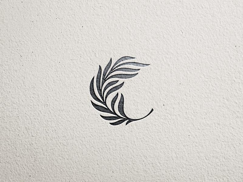 Palm leaf logomark litvinenko studio illustration black and white corporate style brand identity identity branding minimalism c momogram c letter leaf palm logo