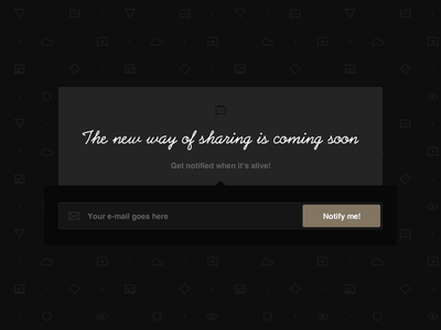 Coming soon page simple comingsoon subscribe pattern form dark black minimalist icon