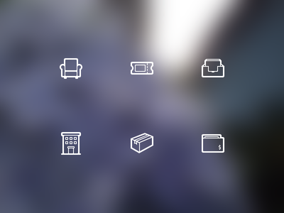 Icons!! glyphs iconomous icon couch ticket inbox building package wallet outline