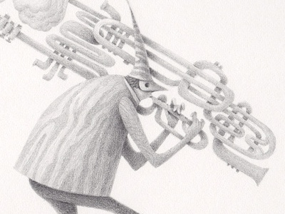 Pied Piper of Hamelin charles santoso illustration pencil drawing groupshow