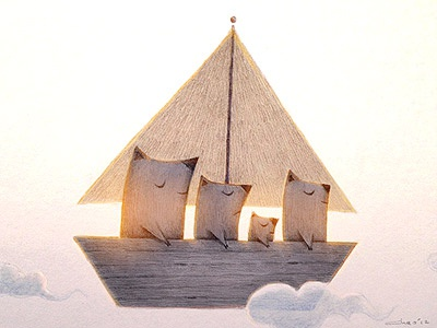 Dream Ship charles santoso mixed media illustration