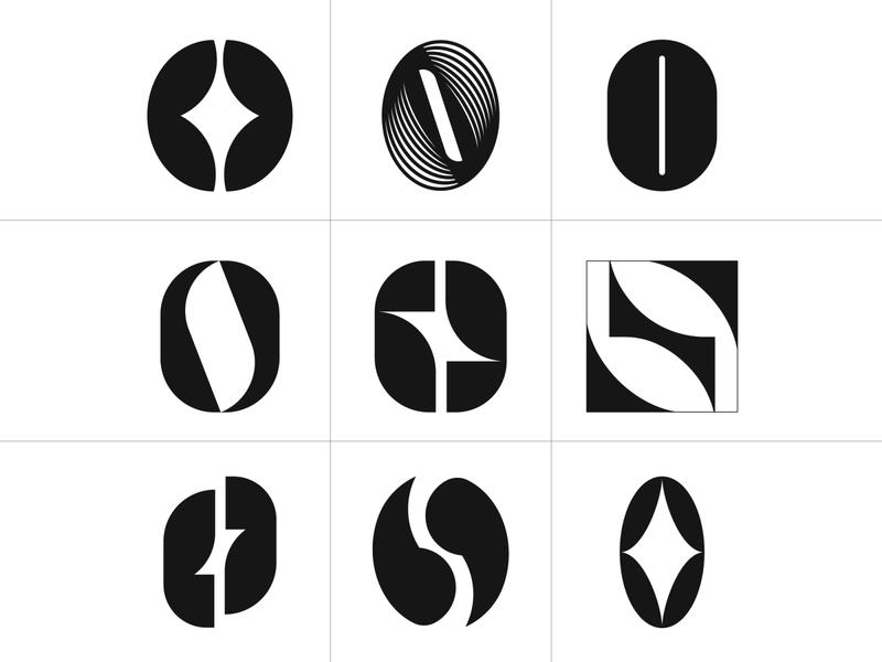 Coffee Bean graphic variants coffeeshop graphicdesign logos monogram sign logo designer icon graphic symbol identity logotype beans coffee vector design