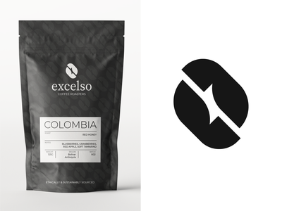 Final Excelso (coffee roasters) logo concept + branding. concept coffee packaging coffee bean vector graphic coffeeshop symbol identity logotype coffe branding design