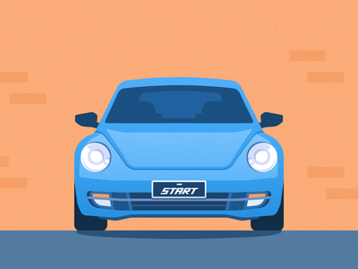 Car illustrations with front view car illustration