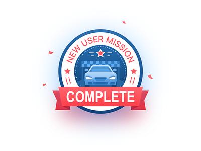 Badge-New User Mission Complete car ui app illustration badge