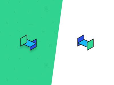 Isometric H alphabet h letter pattern logotype green icon 3d shape mono isometric logo
