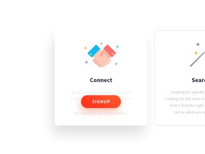 Connect  web design ux icon illustricon ui design button cards
