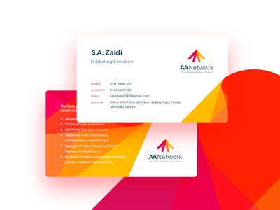 Business Card aa network yellow red colors branding cards business card
