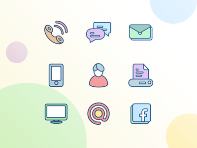 Basic multi-color Icons icons illustricons multi color vector phone chat mail printer person subtle