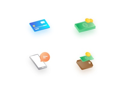Isometric Payment Icons money chat wallet bank card coin payment illustricon illustricons icons perspective isometric