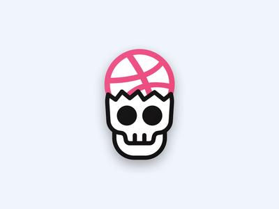Dribbble Head Skull illustration design halloween icon head dribbble skull sticker