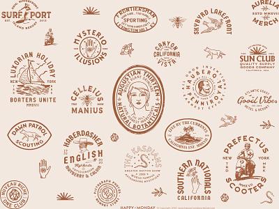 VintageBrand Logo Badge Explorations typography identity brand logo retro emblem vintage badge hand drawn illustration