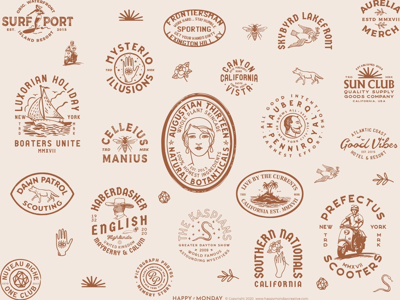 VintageBrand Logo Badge Explorations typography identity brand logo retro emblem vintage badge hand drawn illustration
