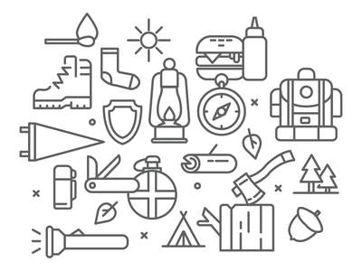 Icon Set - Camping exploration lineart icon set scouts lumberjack outline icons iconography hiking outdoors camping