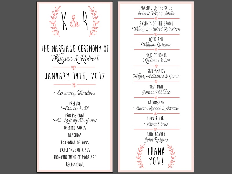 double sided wedding program design by kristal roberts dribbble