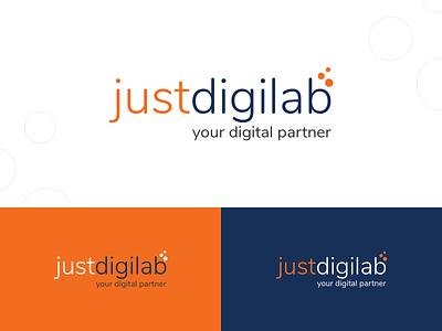 Justdigilab blue orange vrinsoft technology digital agency branding design logo design