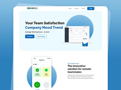 CoMooder-Employee Engagement ux ui attandance mood employee website landingpage webdesign