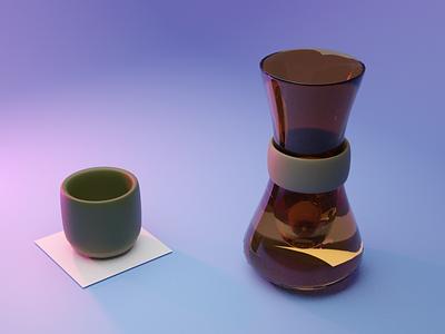 Chemex Mug Purple illustration 3d blender