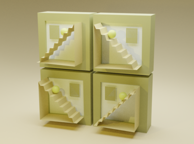 Origami Matcha Stairways illustration blender 3d
