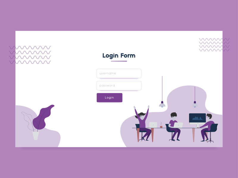 Happy Working Login Form webdesign dailyui illustration flatdesign uxdesign uidesign ui