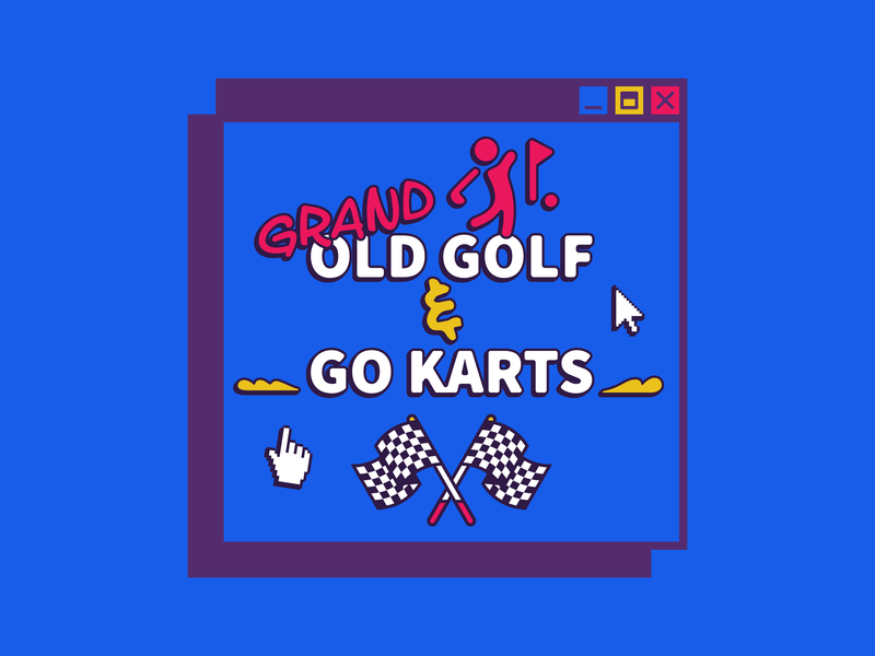 Event Branding | Grand Old Golf & Go Karts retro grand old golf color illustration typography design event branding nashville welcome week university college gokarts mini golf 90s