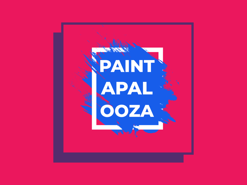 Event Branding | Paintapalooza nashville welcome week event university college color illustration typography design branding