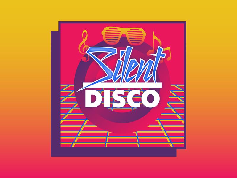 Event Branding | Silent Disco nashville retro disco silent event 80s typogaphy illustration welcome week univeristy color college design branding