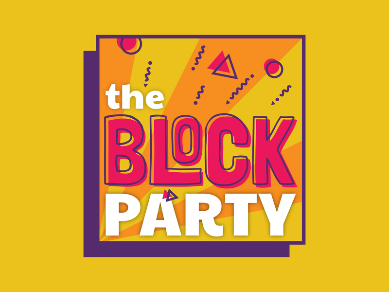Event Branding | The Block Party nashville retro party block 70s university typography welcome week illustration event design college color branding