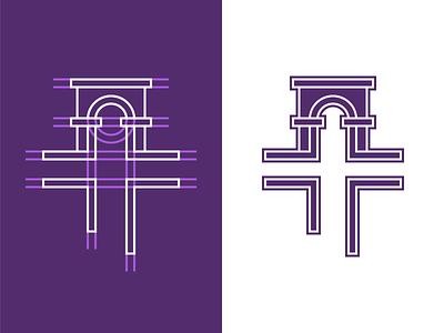 Logo Design   Church negative space nashville brand identity modern religious clean simple stroke monocromatic purple construction brand designer branding geometric architecture cross church logo design logo design