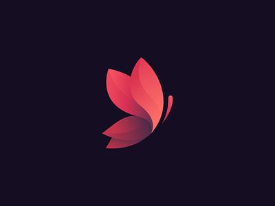 butterfly gradient butterfly violet blue pink logotype logo