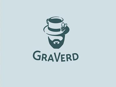 GRAVERD cup tea hut logo beard