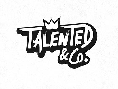 TALENTED script white black logo lettering letter brush