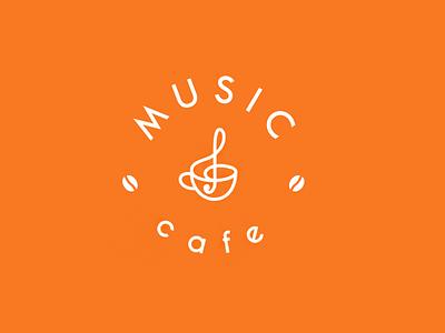 MUSIC cafe logotype logo cup coffee cafe music