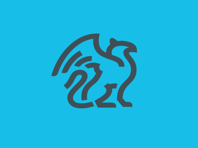 Griffin blue head lion wing symbol logotype logo