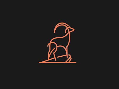 Goat wild line illustration icon goat flat design flip logo black animal