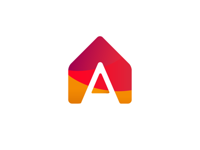 """A"" House Logo geometric orange logomark home house red color a mark logotype logo"