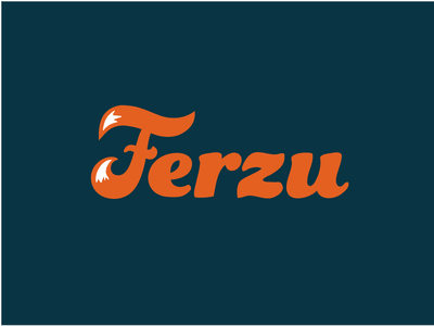 Ferzu custom tail color animal typeface script blue typo letter lettering typography logotype logo
