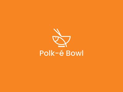 Polk-é Bowl fish white orange design logotype logo