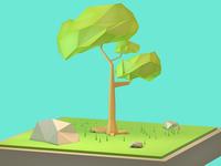 Render Arbol - terminado / Finished tree Low Poly