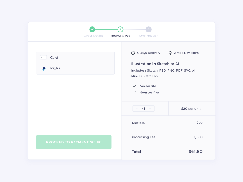 Review & Pay | HexGig sketch web ui payment order stepper picker braintree dialog marketplace