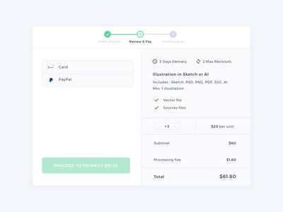 Review & Pay   HexGig sketch web ui payment order stepper picker braintree dialog marketplace