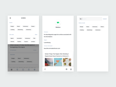 An information concept project of mobile app. minimalism type typography grid colors blog app clean