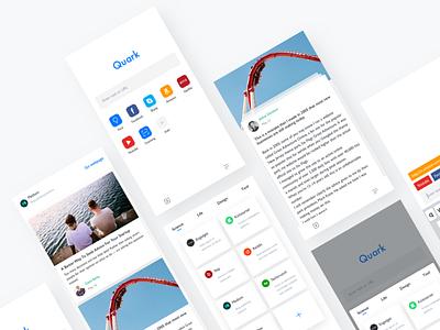 Quark Redesign type typography grid colors blog app clean minimalism,browser
