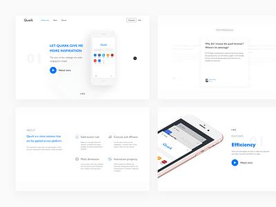 Quark Landing page landing page type typography grid colors blog app clean minimalism,browser
