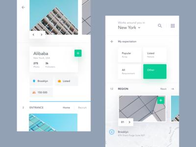 UI exercises #8/100 Recruitment App minimalism,browser clean app blog colors grid typography type