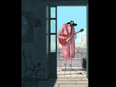 Day poster day rooftop illustration amplifier wacom scene photoshop music mood guitar epiphone